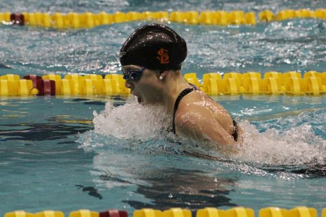 Sophomore Hattie Kugler swims the 100 yard breststroke at State Nov. 17. Kuegler finished with a time of 1:06.96.
