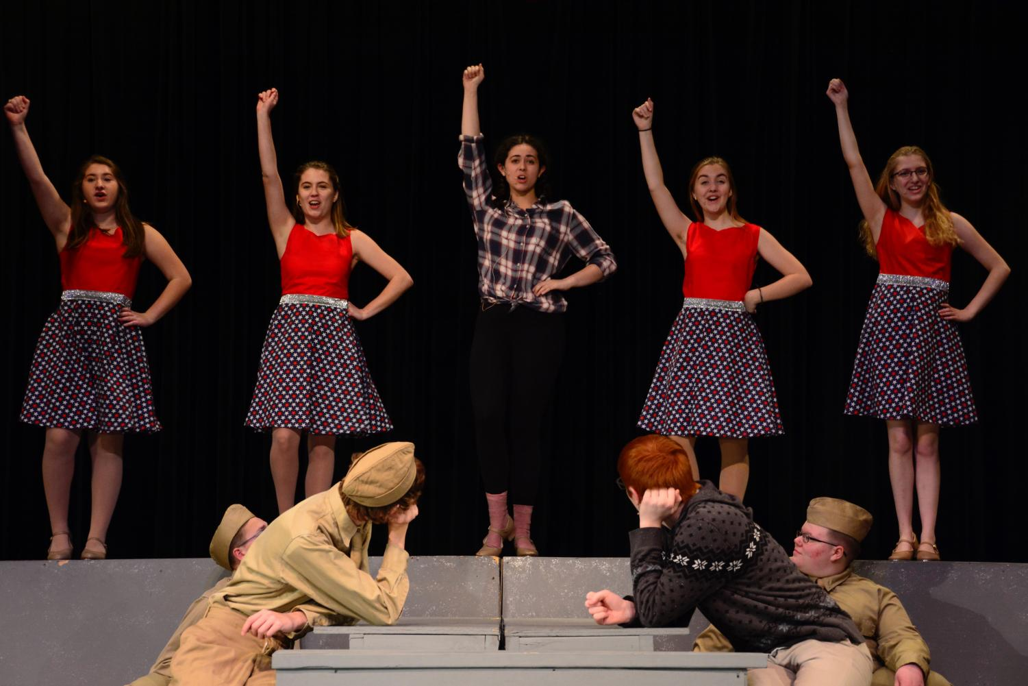 Cast members perform the song 'Red, White and True' from the musical 'Big Fish.'