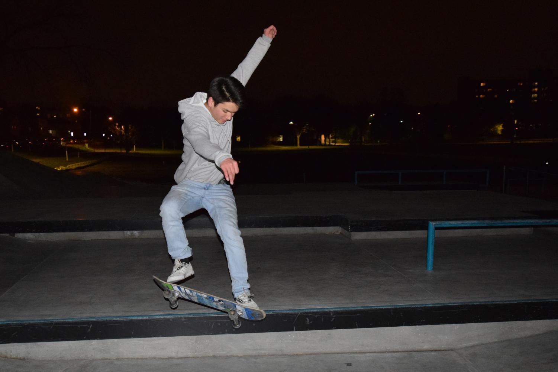 Junior Oliver Swenson lands an ollie at the recently opened Carpenter Park, Nov. 9.