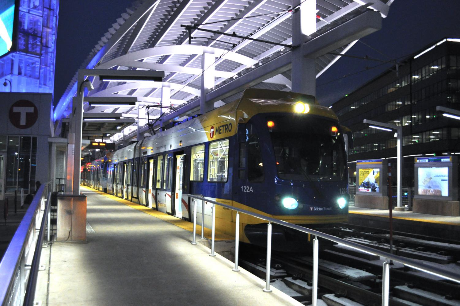 The Metro Transit light rail pulls into Target Field Station marking its way to the Mall of America. A light rail station will be built at Wooddale in 2019.