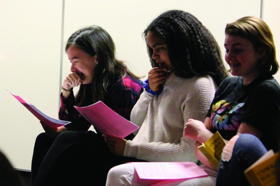 Juniors Ayanna Nathan and Zoe Zachek and sophomore Morgan Graves read the play's one act script Dec. 4.
