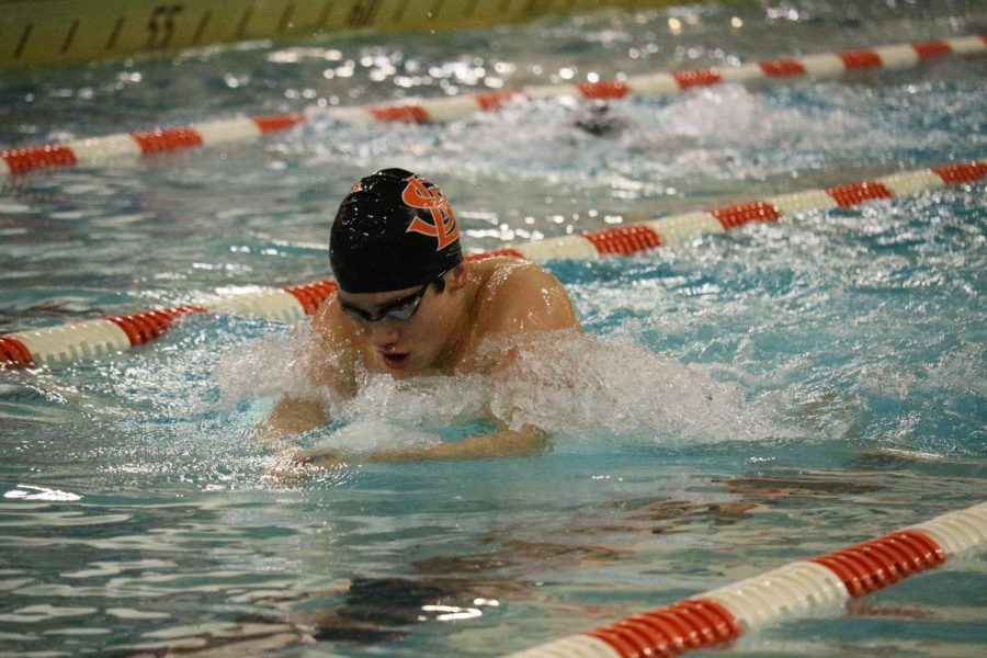 Freshman+Hayden+Zheng+swims+the+200+IM.+Zheng+broke+his+own+pool+record+with+a+time+of+1%3A54.