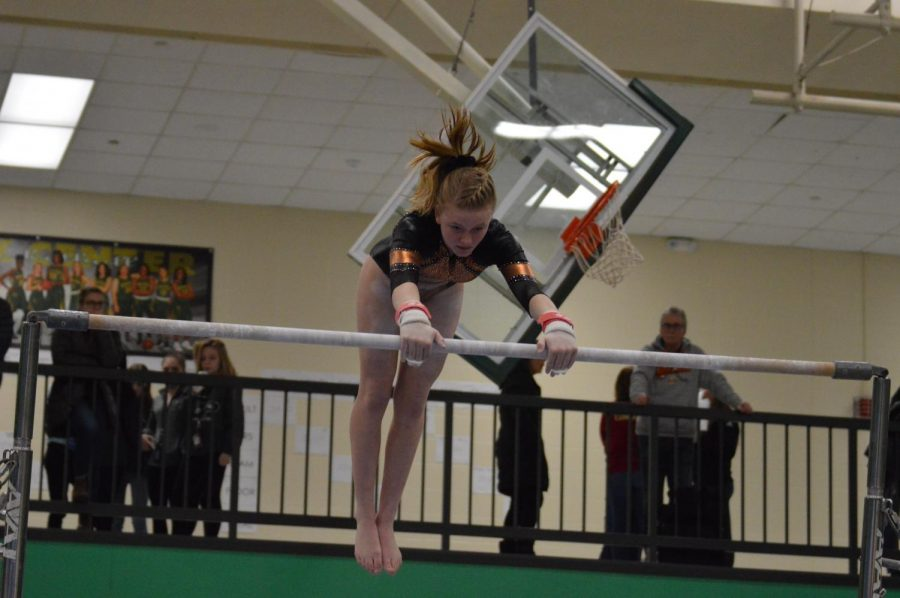 Freshman+Josie+Briant+performs+her+bars+routine+Jan.+7+at+Park+Center.+Park+gymnastic%27s+next+meet+will+take+place+6+p.m.+Jan.+9+at+home.++