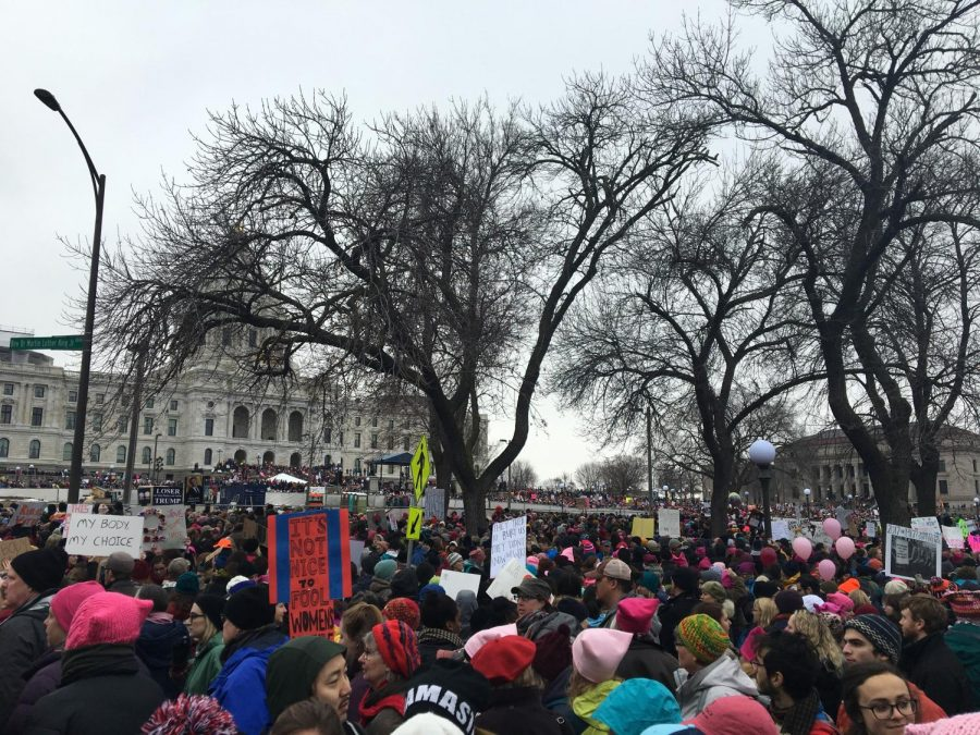 Women%27s+March+attendees+gathered+outside+of+the+Minnesota+State+Capital+on+Jan.+21%2C+2017.+The+anniversary+event+was+held+on+Jan.+19+at+the+St.+Paul+Union+Depot%2C+the+event+hosted+artist%2C+speakers+and+musicians.