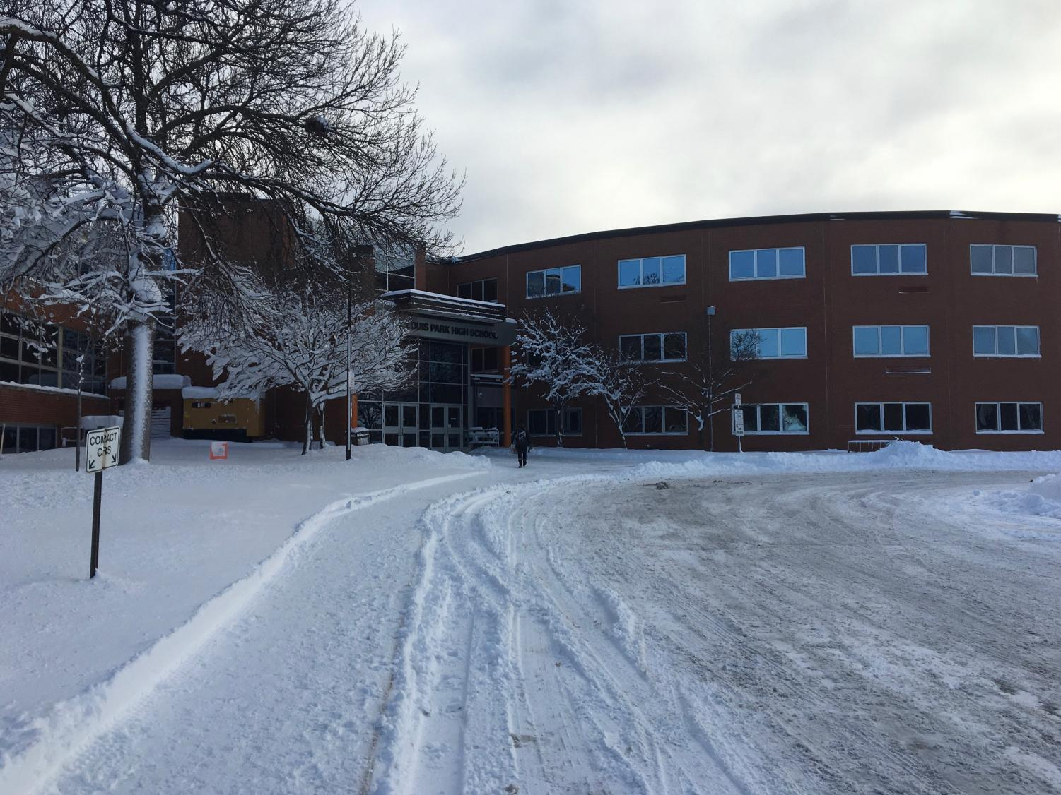 Saint Louis Park High School open on Jan. 23 after Minneapolis snow emergency.