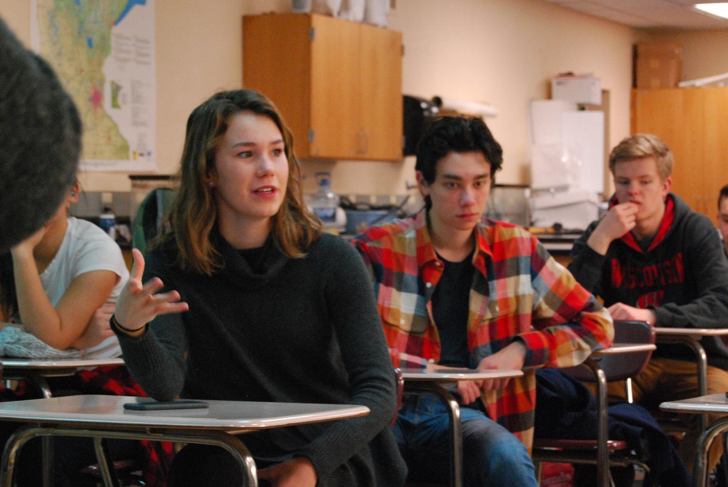 Junior Anika Hanson participates in a Roots & Shoots club discussion regarding the creation of a recycling video. The group's next meeting is Jan. 30 at 8 a.m. in A316.