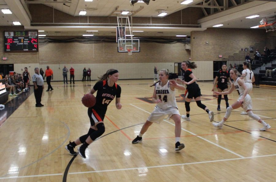 Junior+Lindsey+Olson+dribbles+past+a+Chaska+defensive+player.+The+Orioles+won+74-61+on+Jan.+16.