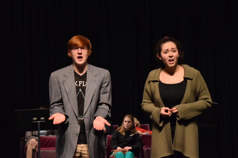 Seniors+Annabella+Strathman+and+Ben+Romain+perform+in+Lot+13+a+segment+of+their+winter+one+acts.+They+competed+in+a+contest+Jan.+25.