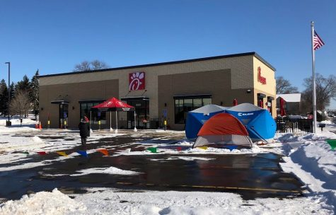 People from the local community arrived to camp outside prior to Chick-fil-A's grand opening Feb. 1 in hopes of receiving a coupon loaded with 52 free meals.