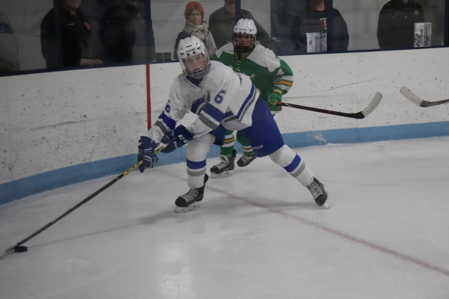 The Hopkins-Park hockey team lost to Edina 1-6 Jan. 6. The team ended their season Feb. 10 against Cretin-Derham Hall at the Palace Ice Garden arena.