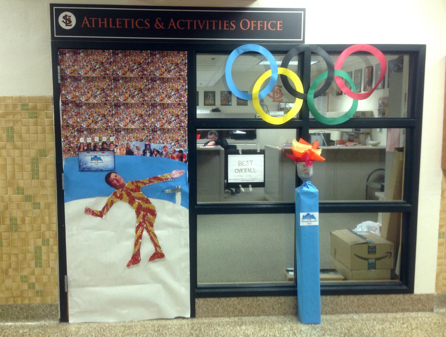 The athletic office door was decorated for the theme of Sno Daze week this year, the Olympics, winning the award for best overall decoration. Titles were awarded by Student Council. Other titles included most athletic, most creative, most informative and best sportsmanship.