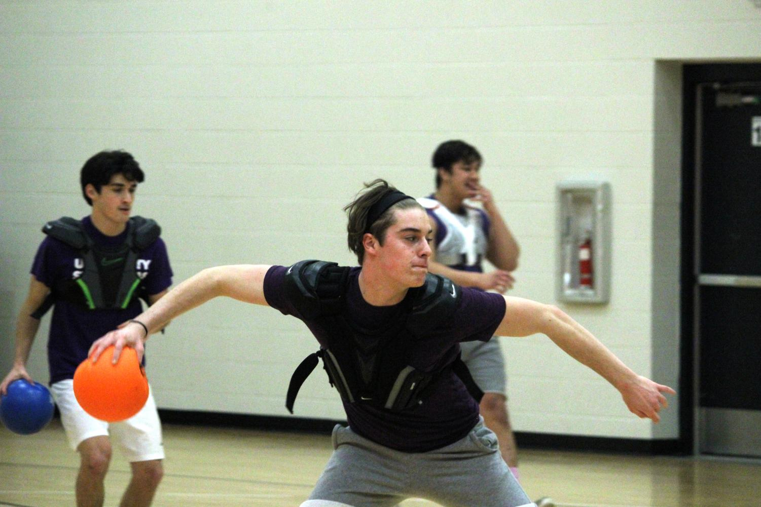 Senior Mitchell Vortherms participates in a dodgeball game during Snodaze week. Seniors Mahamed Mahamed, Megan Perkins and Hanna Schechter are hosting a fundraiser in the form of a dodgeball tournament April 18 in the old gym.