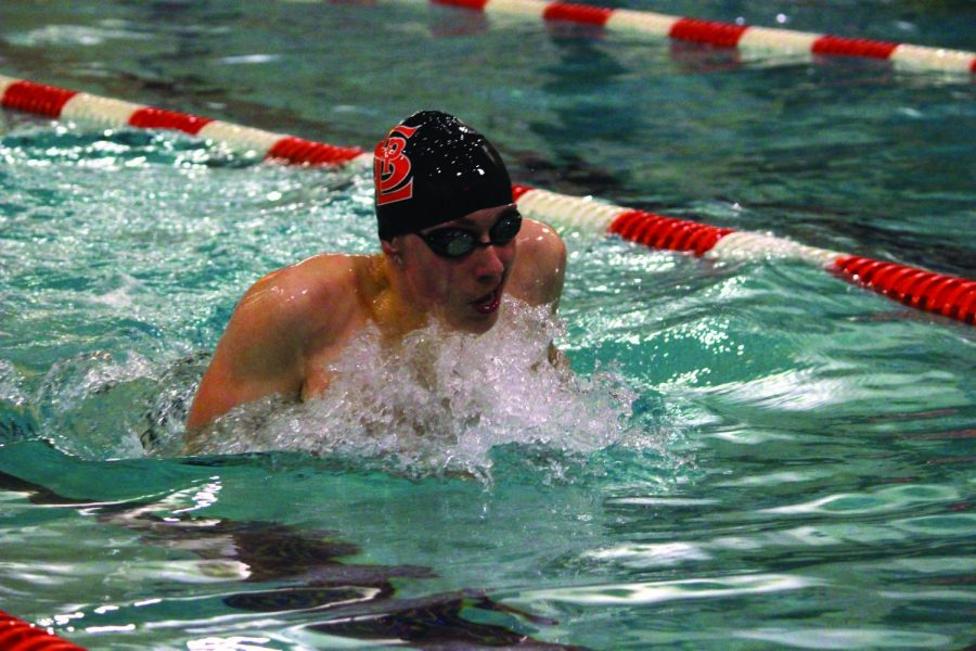 Junior Luke Anderson swims the 200-yard individual medley in Park's meet against Richfield Feb. 8. The Orioles defeated the Spartans 91-70. The Orioles' next meet is Sections Feb. 22 at the Art Downey Aquatic Center in Edina.