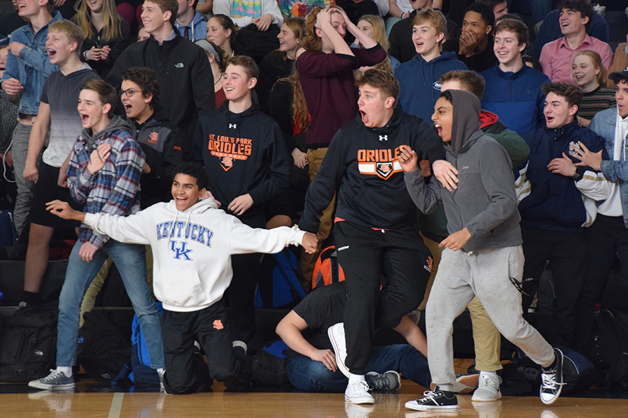 Juniors react during Friday's pep fest  Friday Feb. 16. The event calendar for the week was announced at the pep fest.