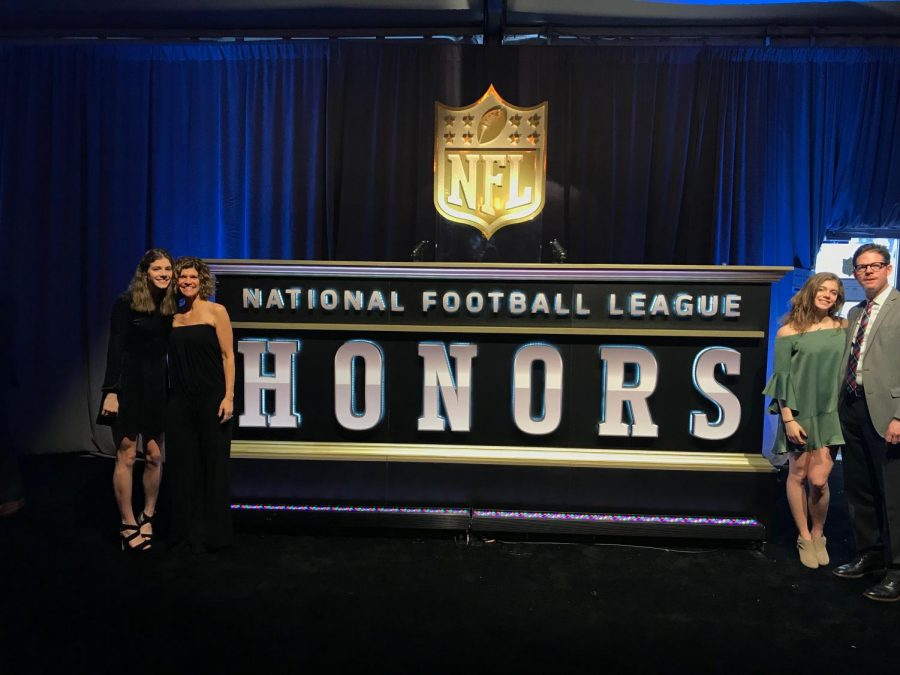 The+Kugler+family+attends+the+NFL+Honors+ceremony.+The+Super+Bowl+experience+lead+to+a+video+featuring+sophomore+Hattie+Kugler+with+Tom+Brady+and+Randy+Moss.