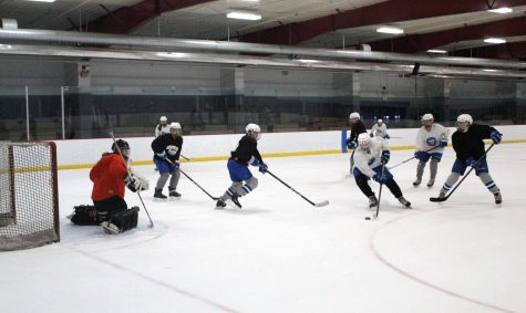 The girls' hockey team practices their power play and penalty kill units as they prepare for their upcoming Section game. The team plays Cretin-Derham Hall at 2:15 p.m. Feb. 10 at the Parade Ice Gardens.