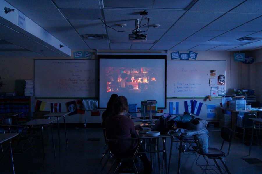 Students+attend+Spanish+Club+March+6.+Club+adviser+Kristen+Christiansen+played+the+movie+%22Coco%22+for+club+members+to+watch.