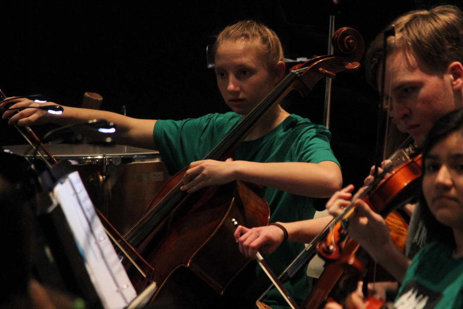 Freshman Amara Foner plays cello in Park's Chamber Orchestra for the musical the Wizard of Oz. The musical was performed by the cast of the Wayzata Community Church March 17.