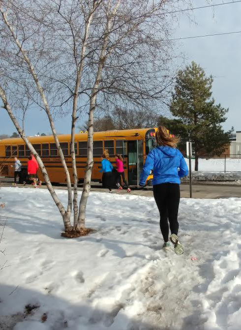 Girls' and boys' track held a joint captains' practice for distance runners March 2. Junior captains Olivia Mosby and Creston Halstead took the athletes on a run to Lake Calhoun.