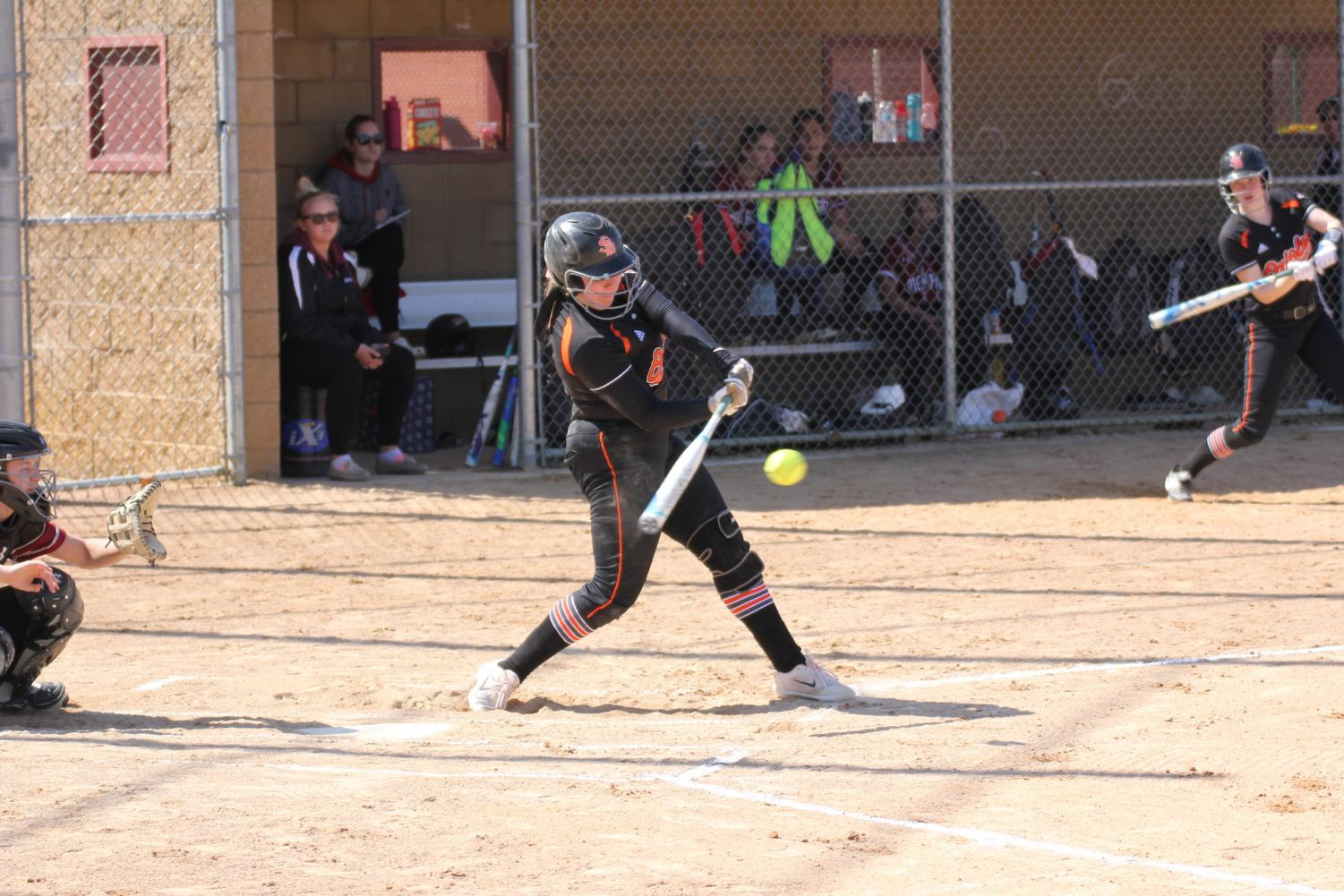 Junior Maddy Schmitz takes a swing during the varsity softball game against Richfield during the top of the second April 28. Park won 3-1.