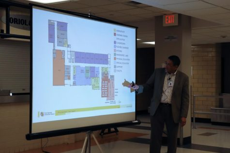 Facilities manager Tom Bravo explains the new updates to Park April 18 during a community meeting.