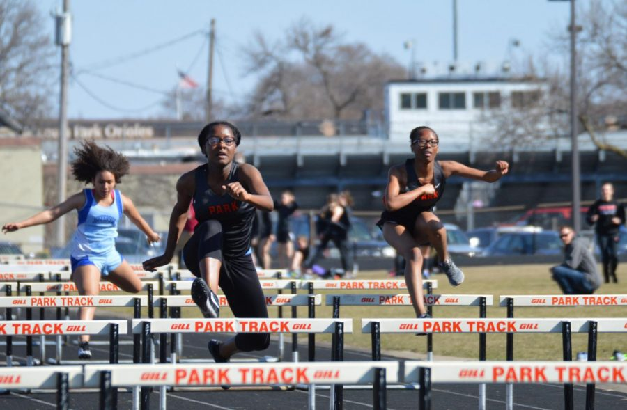 Sophomore Hilda Habia jumps hurdles on track meet April 26. Park's next meet is May 16 at Chanhassen High School.