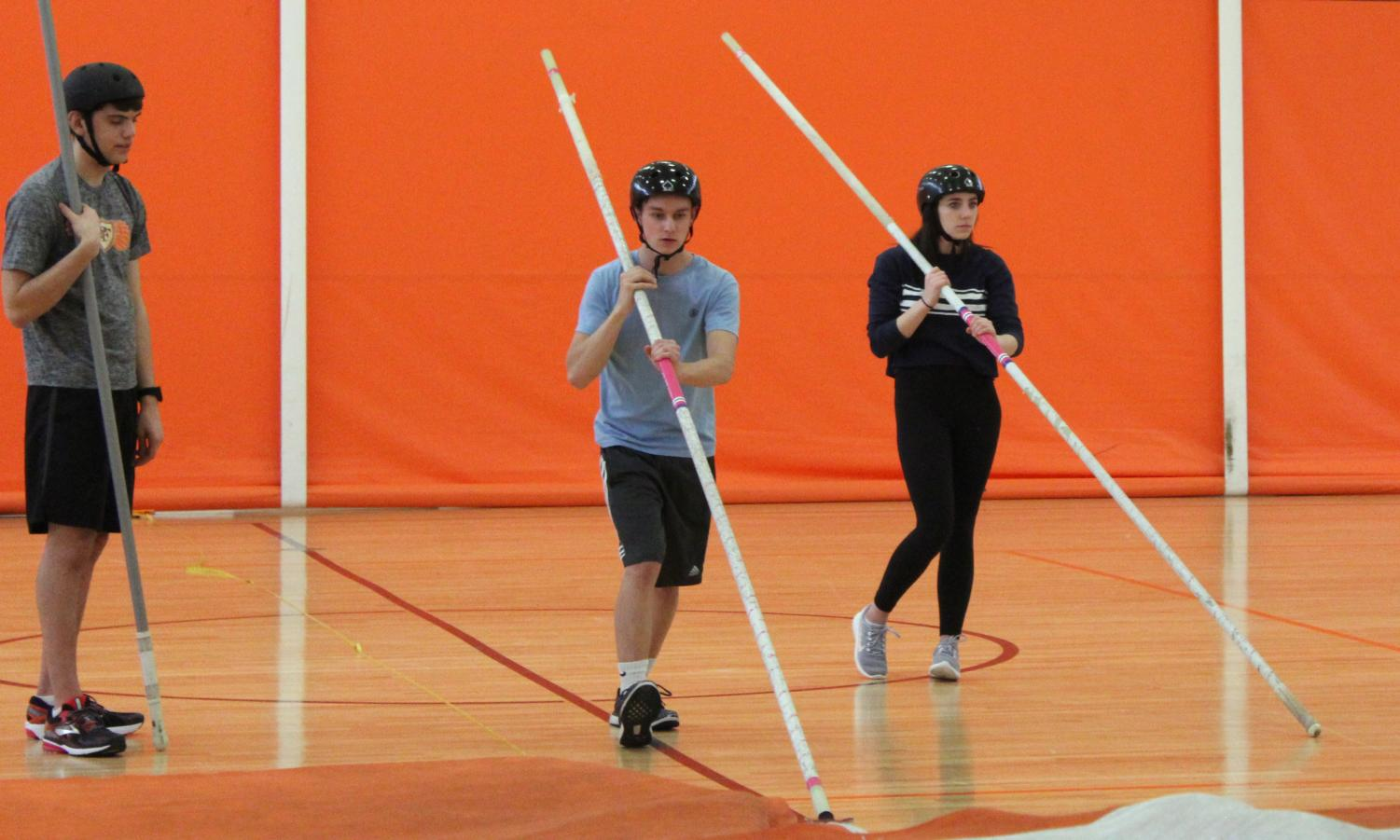Sophomore Will Schweitering works on pole vaulting at practice April 10. The April 17 track meet was cancelled.