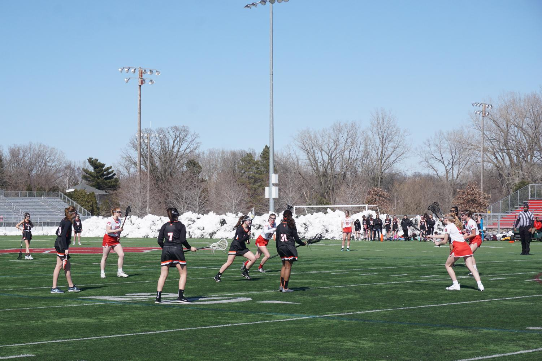 Girls' lacrosse plays against Benilde St. Margaret's April 19. Park lost 5-12.