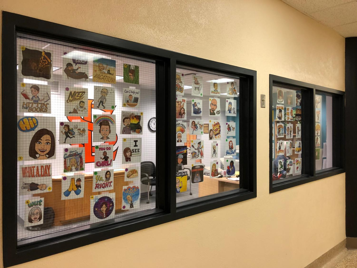 Teachers and staff members created Bitmojis representing themselves. The Bitmojis were posted on the windows of the principal's office. Students are encouraged to match the staff member caricature with their name.
