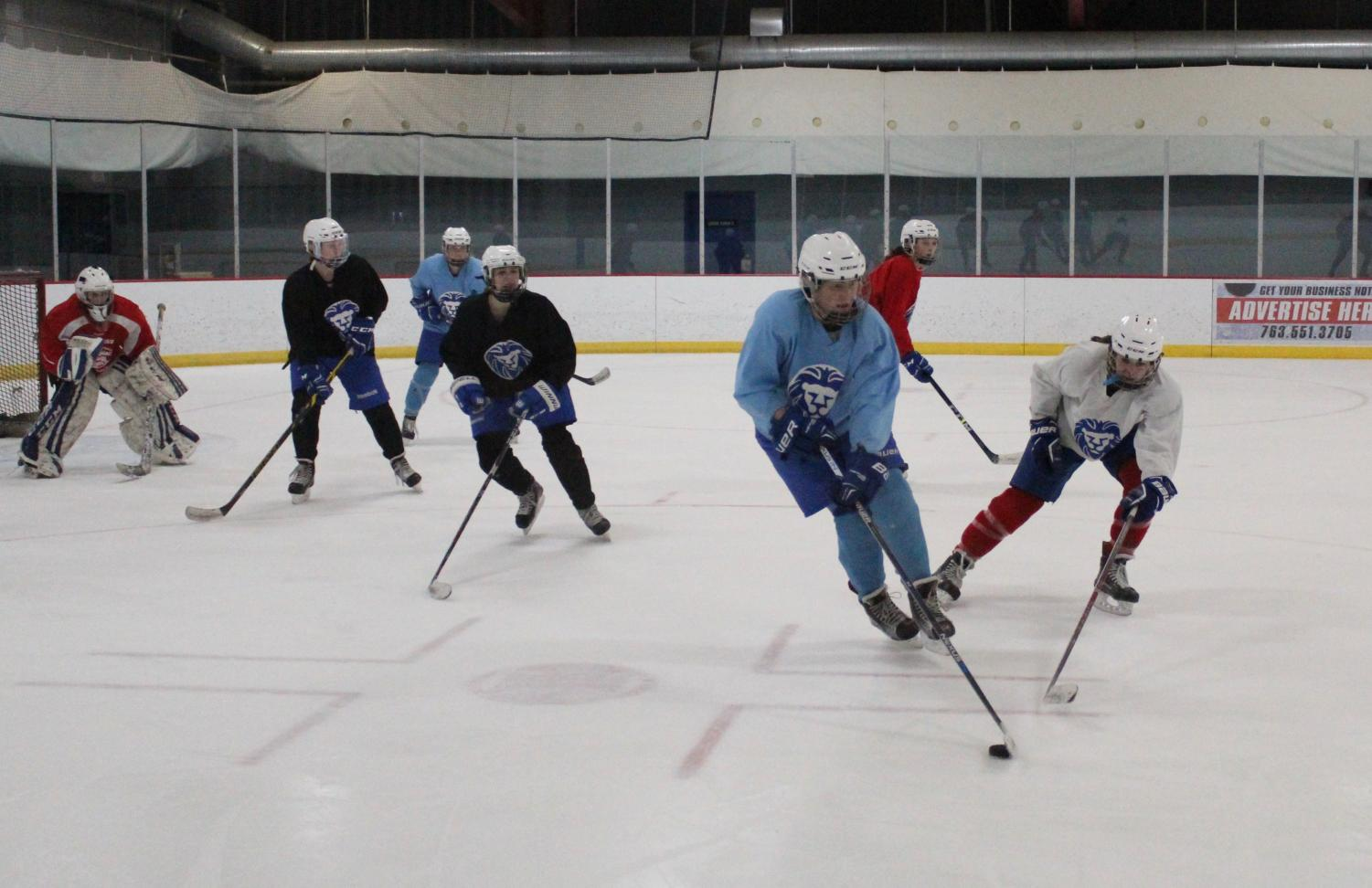 Freshman Erin Brousseau, in the white jersey, forechecks against Mary Gleason in the team's practice Feb 8.
