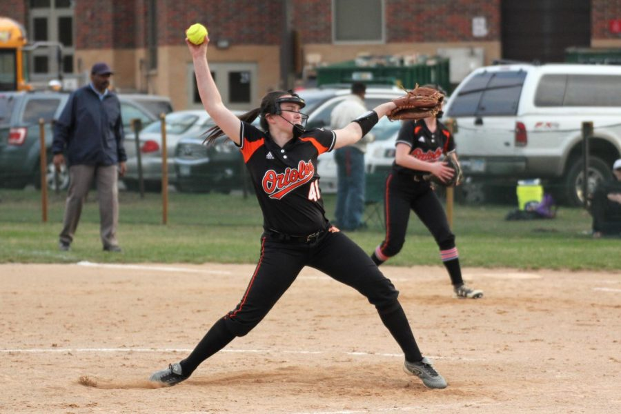 Senior captain Annabelle Schutte pitches for Park May 1. Park lost 1-2 to Benilde-St. Margaret's.