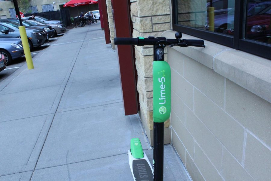Lime scooters are placed all around the Twin Cities and can be found by using an app. They increased in popularity over the summer of 2018.