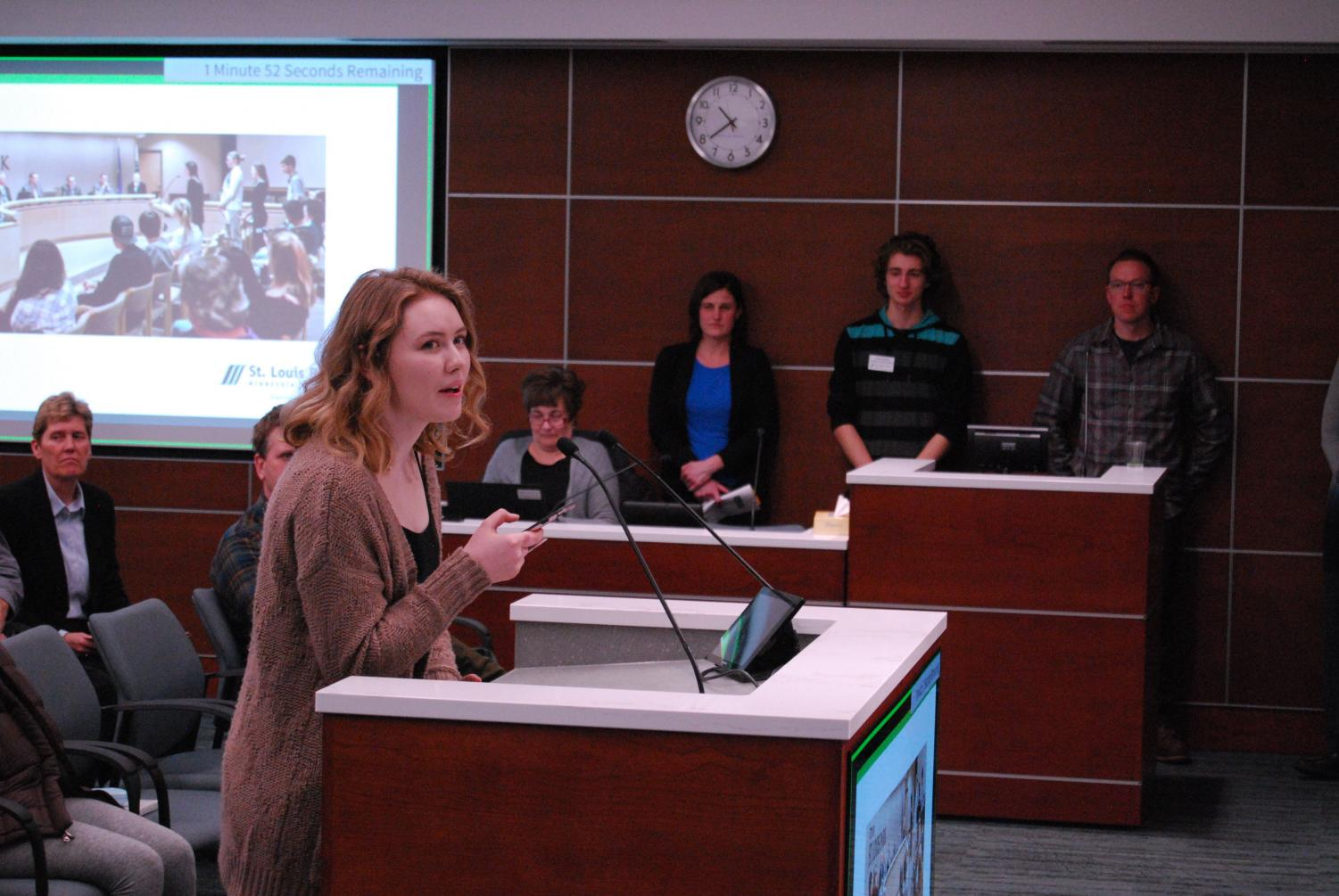 Senior Katie Christiansen speaks in support of the Climate Action Plan before the St. Louis Park City Council Feb. 5.