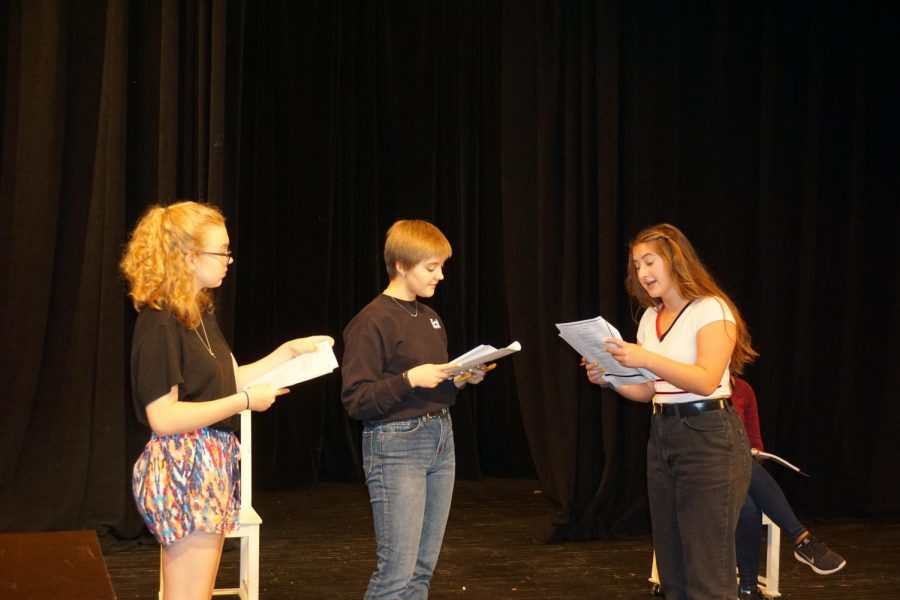 Senior+Emma+Yarger%2C+Junior+Ruby+Stillman+and+Sophomore+Phoebe+MicKinney+rehearse+their+lines+in+preparation+for+their+upcoming+musical+%279+to+5%27.