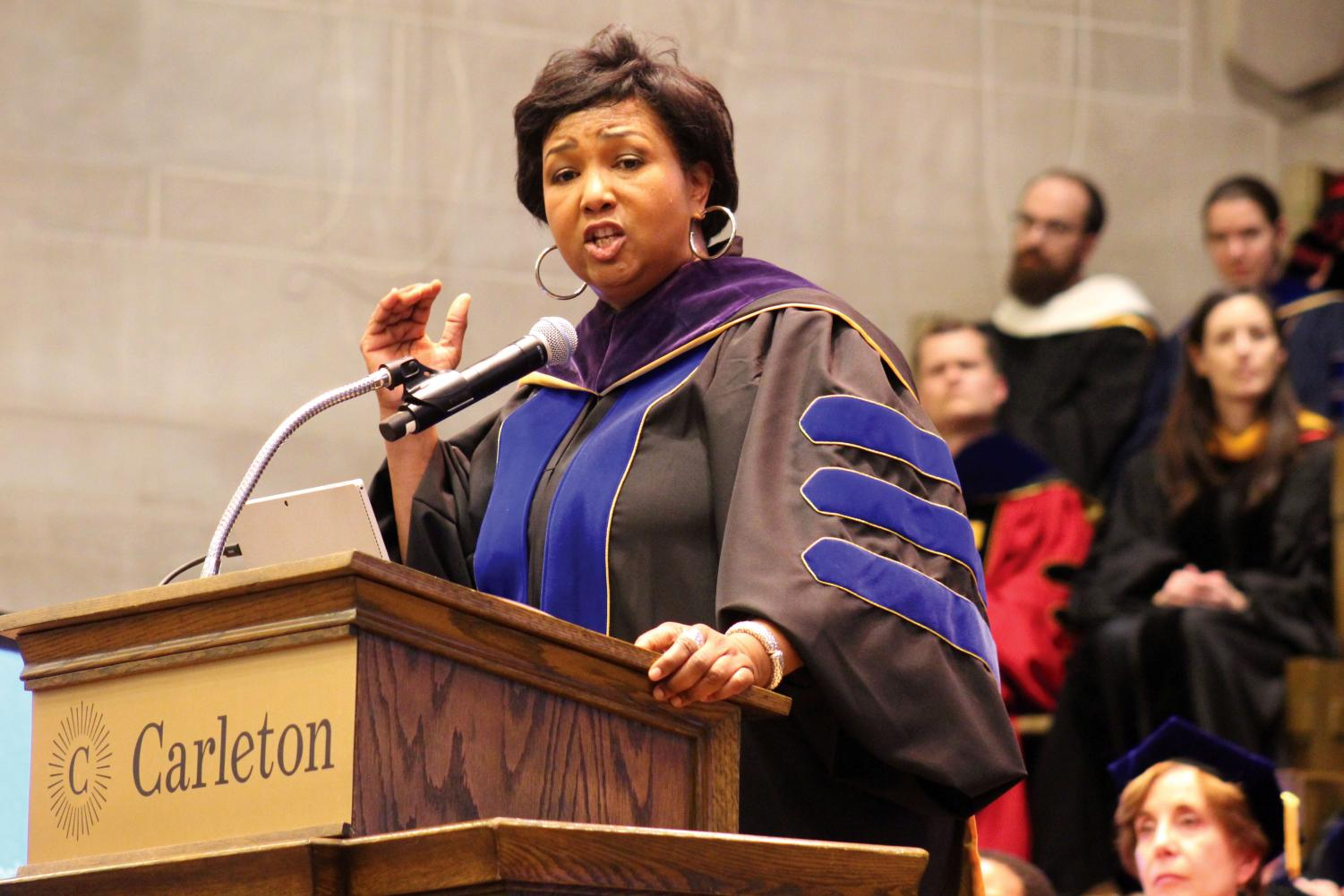 Mae Jemison, the first woman of color to travel to space, speaks at a convocation at Carleton College Oct. 26