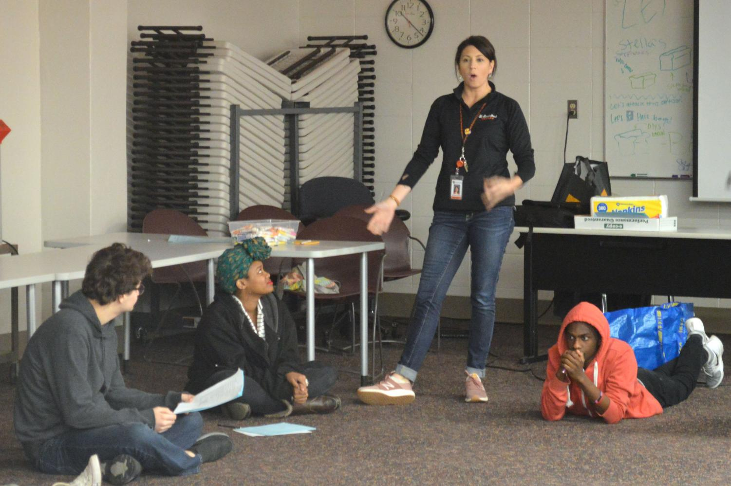 Natural Helpers adviser Allison Luskey speaks during the full day of training. The meeting took place Oct. 26 in B135.