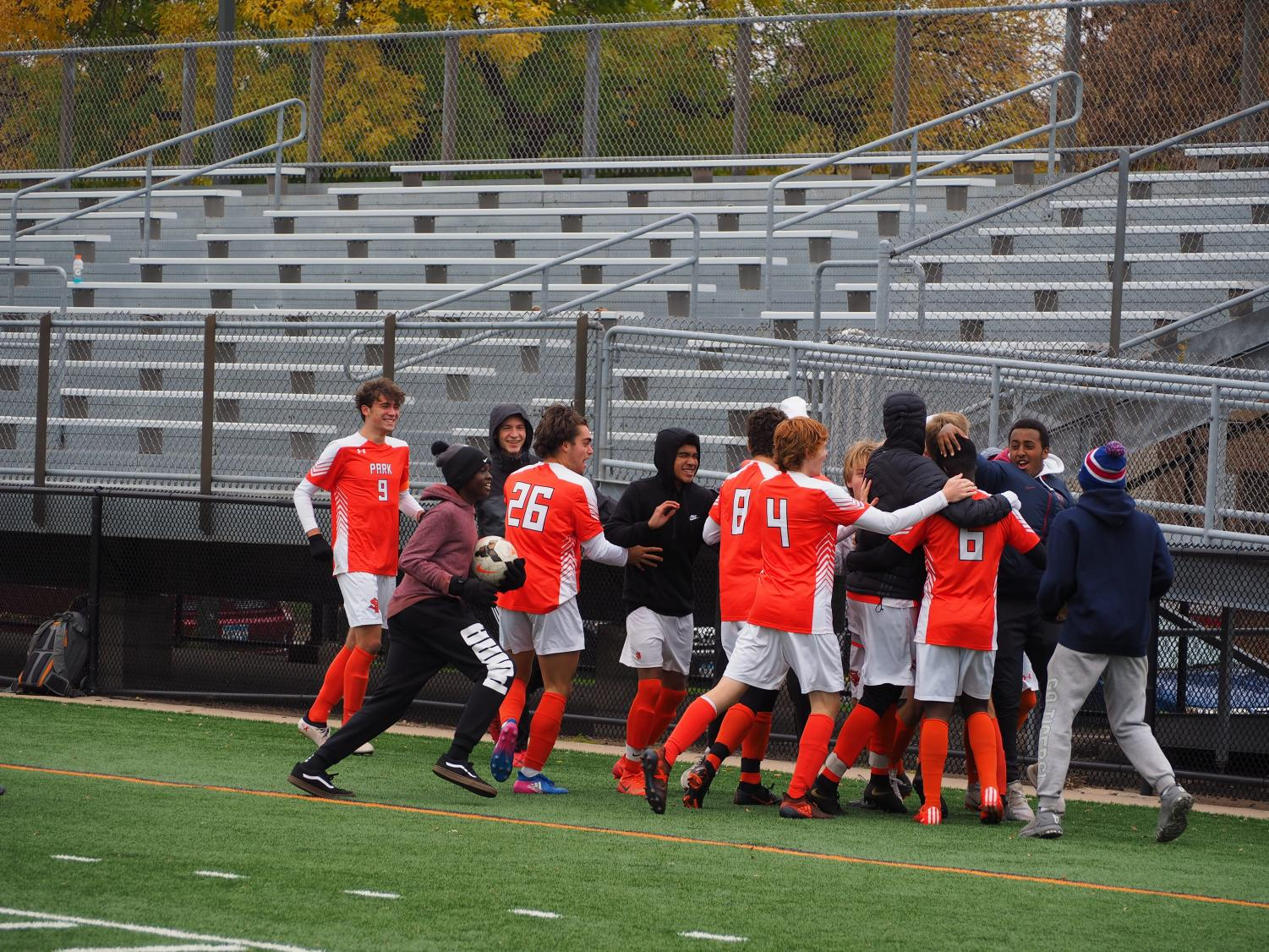 Park celebrates after junior Randy Mayele scores in the section semifinal against Kennedy Oct. 13. They won the game 2-1 and went on to play Wayzata in the section final Oct. 16.