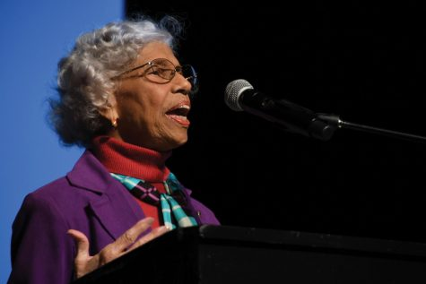 Vote: Civil Rights leader Dr. Josie Johnson speaks to the senior class at the voter registration assembly Sept. 26. Johnson encouraged seniors to keep her legacy alive by voting.