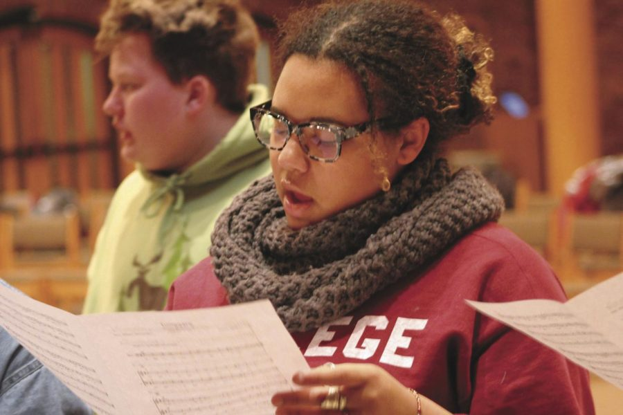 Amaya Fokuo rehearses in the VocalEssence choir Nov. 19. The group of high school students rehearses every Monday 4:30-7:30 p.m. at Augsburg University. The next VocalEssence concert is at 7:30 p.m. Dec.1.
