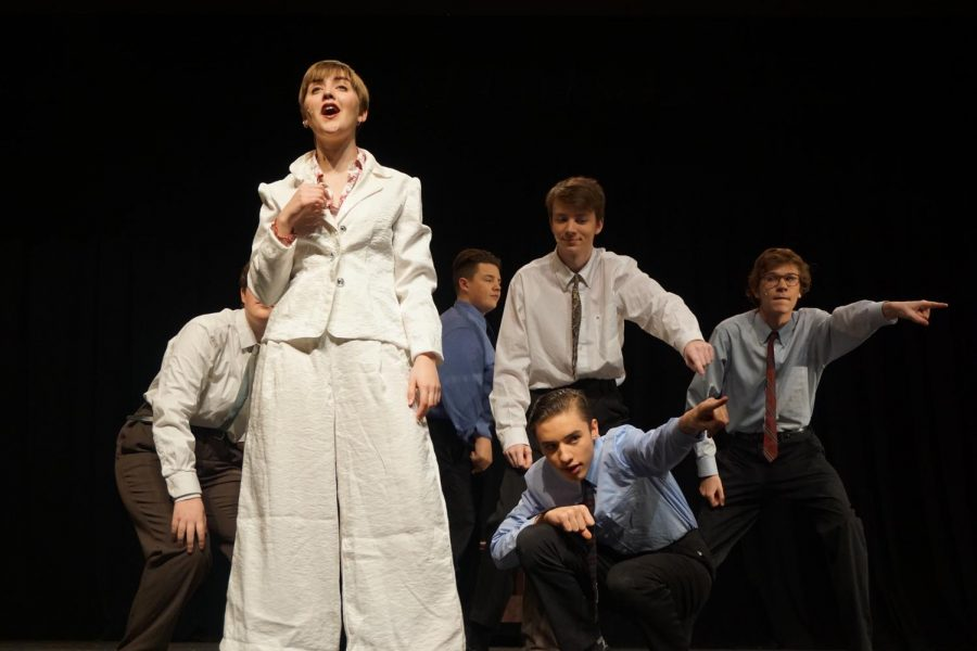 Senior Emma Yarger rehearses the number One of the Boys in preparation for opening night Nov. 9.