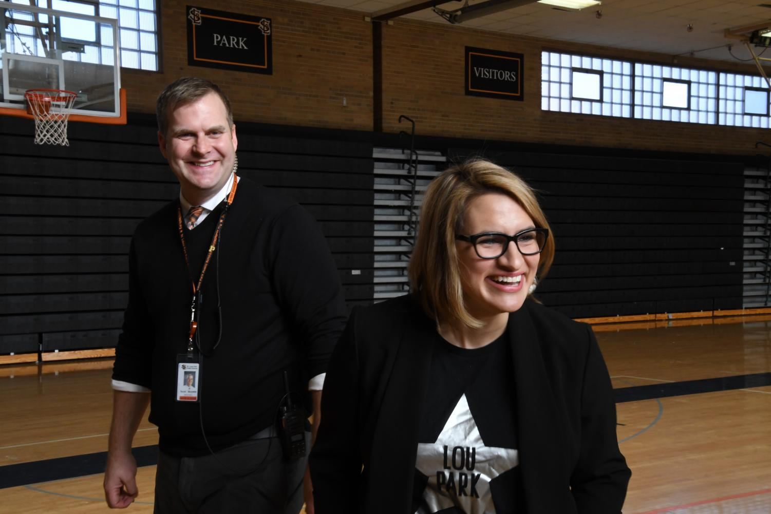 Back home: Lt. Gov.-elect Peggy Flanagan spoke to civics teacher Brad Brubaker's freshman honors civics Nov. 15. Flanagan is a graduate of Park and returned to record an interview with Park alumna and journalist Mary Lahammer.