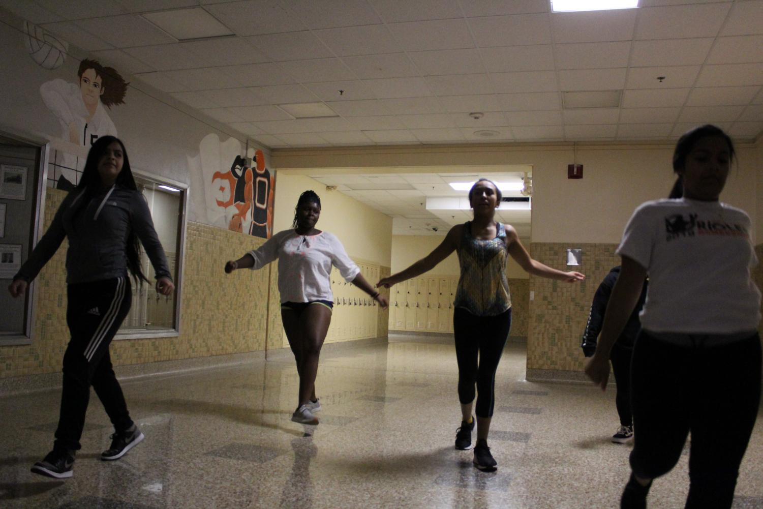 Park's new dance team practices one of their routines, choreographed by coach Tontiana Kendricks, in the Dakota Foyer after school Nov. 1. The team is rehearsing multiple different routines which they will perform at boys' basketball games this winter.