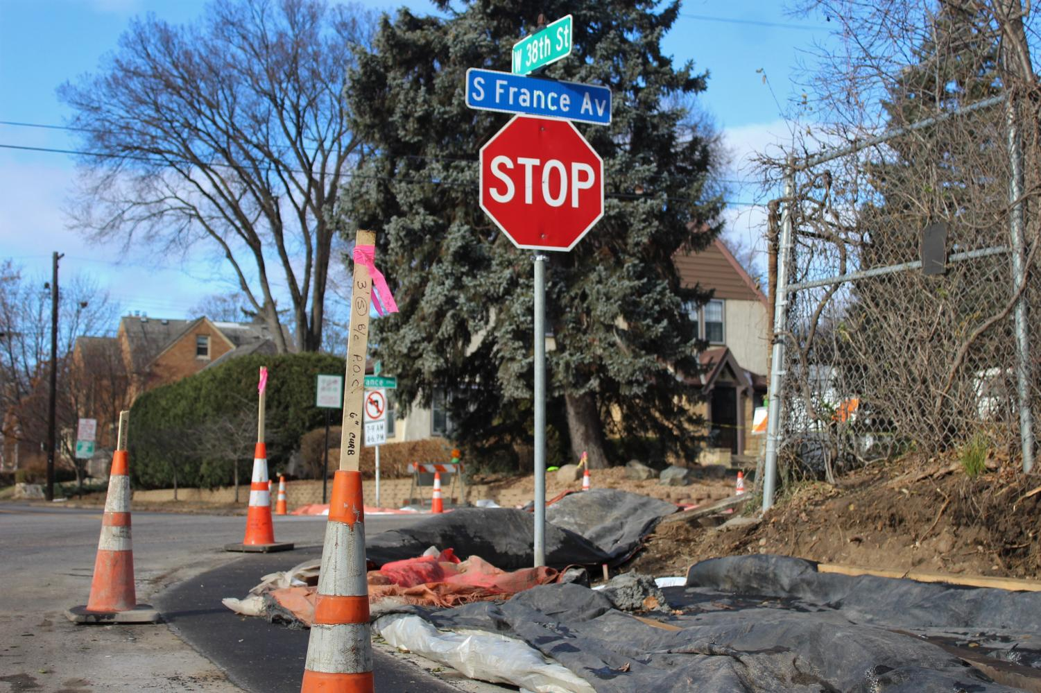Construction on S France Ave causes temporary inconvenience for drivers.  The construction will make the intersection safe by constructing a crosswalk.