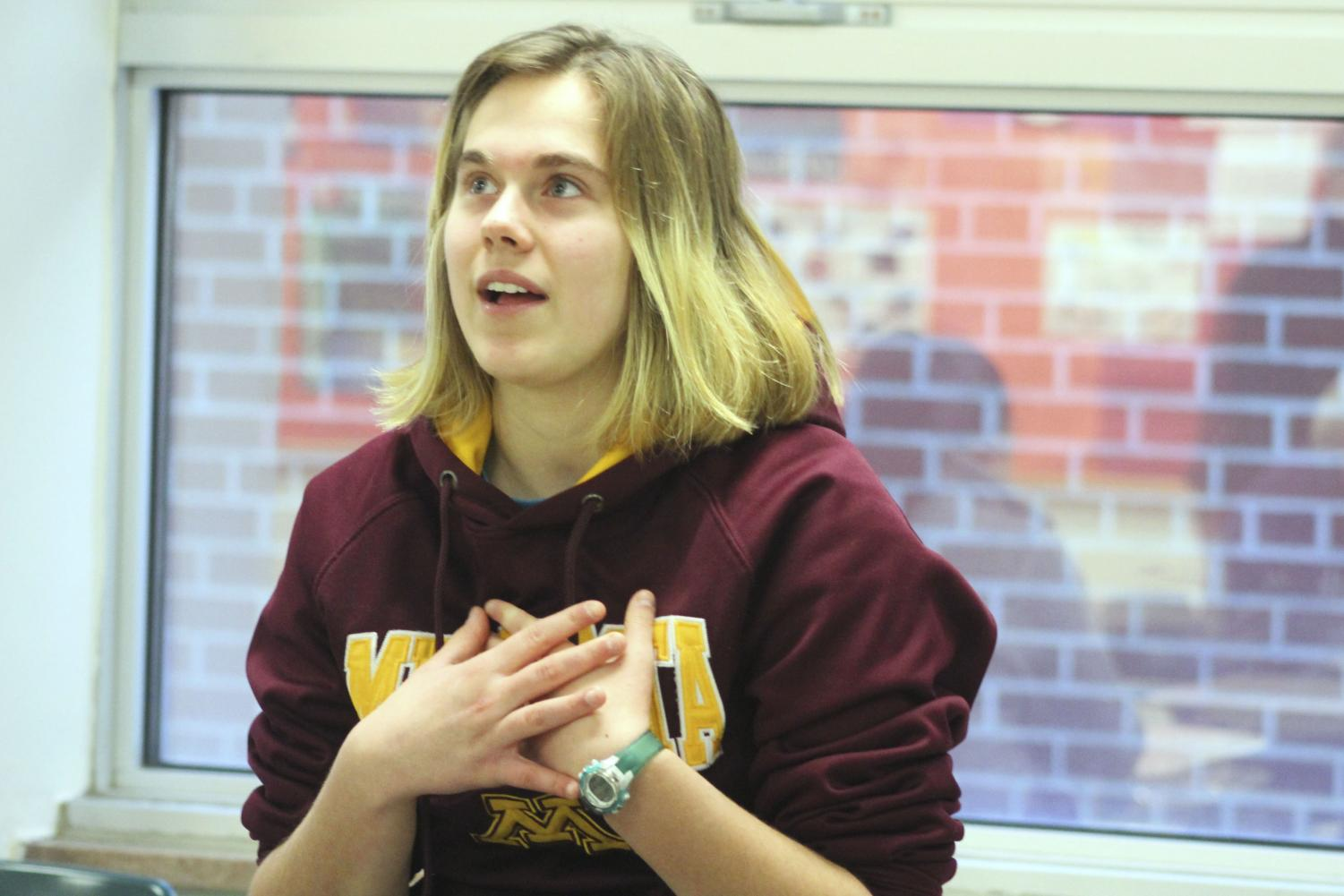 Junior Dayna Krause raises her voice about adding LGBTQ books to the school library during a GSA meeting in room B231.