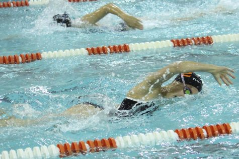 Claudia Stone swims freestyle against Richfield Sep. 27. Park won 93-81.