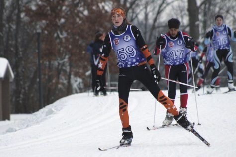 Sophomore Olivia Etz skate skis during the girls' varsity Nordic race on Dec. 13 at Hyland Park. Park girls' varsity placed second overall at its second meet of the season.