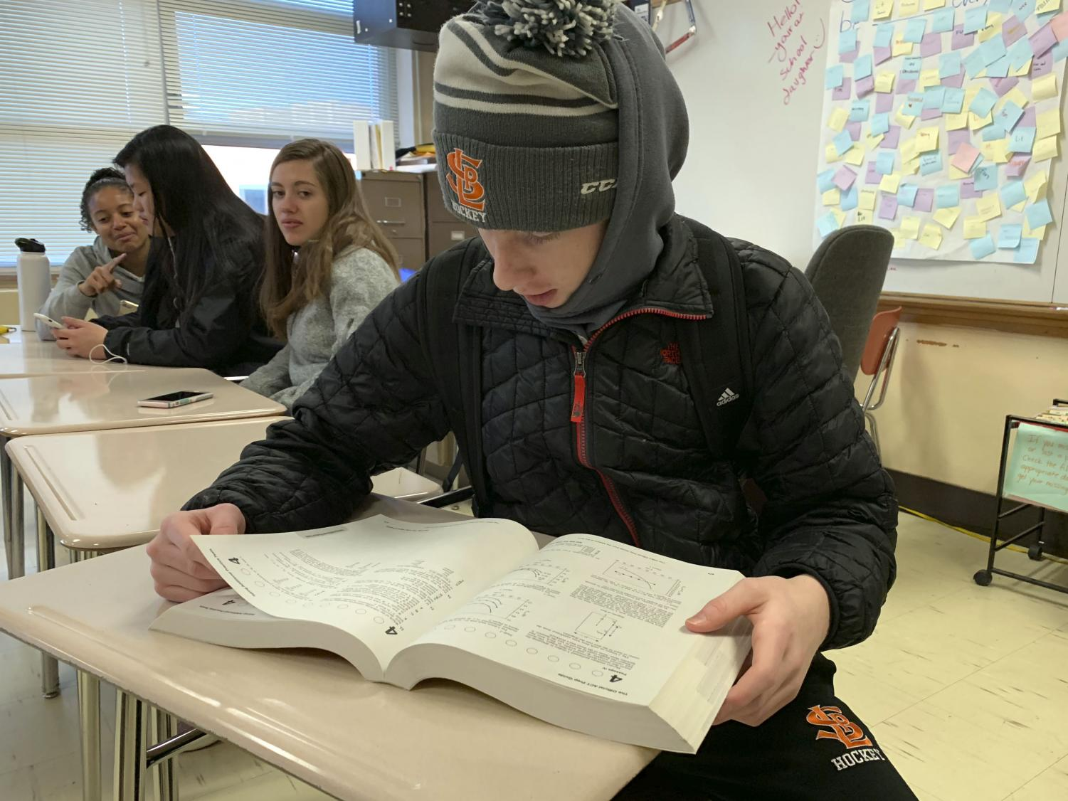 Junior Jamie Sorenson studies for the ACT during his study hall. All Park juniors can take the ACT at school Feb. 20.