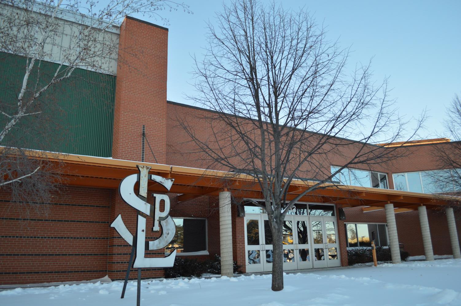 St. Louis Park Public Schools will have a two-hour late start Jan. 28 due to snow and cold wind. Pictured is door 12, where athletics will continue after school as usual.
