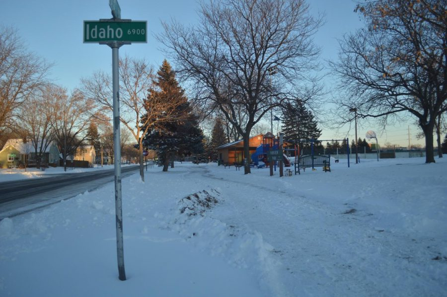 The sidewalk on W. 33 St. students use to walk to the high school. Due to the wind chill temperatures during this morning route, the District has closed all St. Louis Park Public Schools Jan. 31.