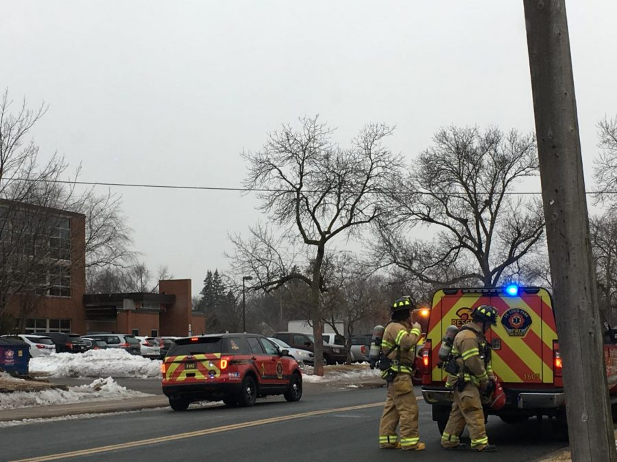 Fire fighters responding to the electrical fire arrive at St. Louis Park High School Jan. 15. The high school was evacuated at 10 a.m. during second period Jan. 15.